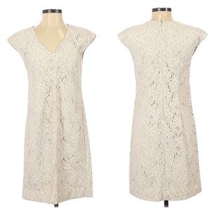 J. Crew Lace Cream Scalloped Cap Sleeve Dress 4